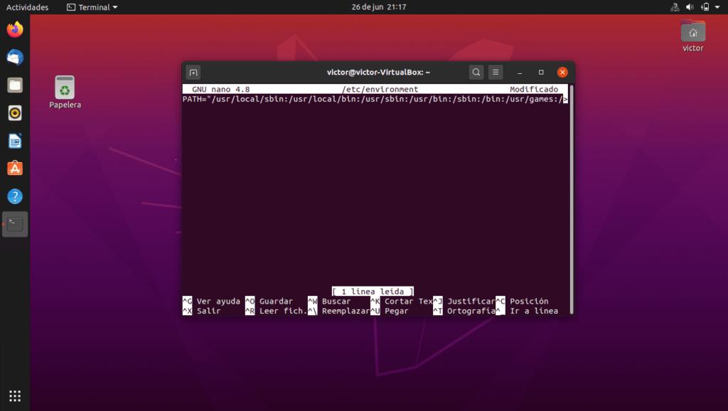 Captura de pantalla de Ubuntu 20.04